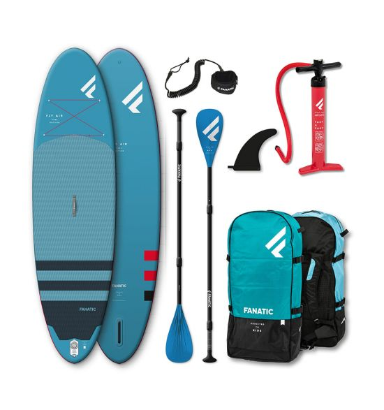 "Fanatic Fly Air 9'8"" Blue 2021 Inflatable SUP package"